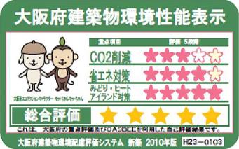 平成23年度 CASBEE(大阪府建築物環境性能表示)S評価(148件中2位)